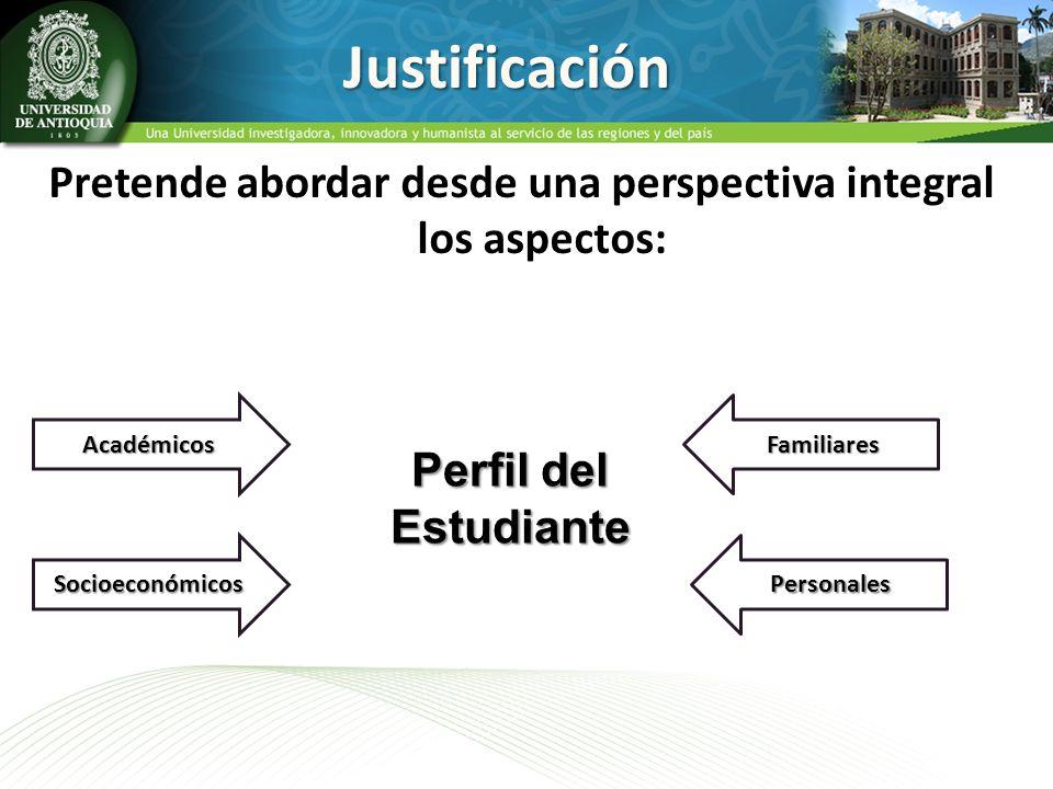 Justificación Pretende abordar desde una perspectiva integral los aspectos: Socioeconómicos Académicos Perfil del Estudiante Familiares Personales