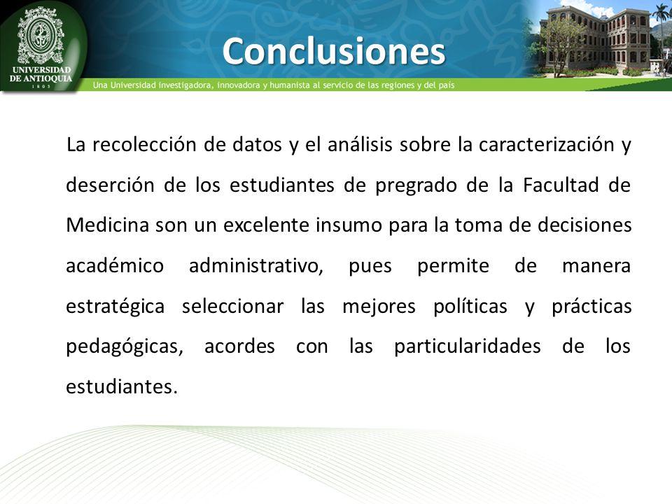 La recolección de datos y el análisis sobre la caracterización y deserción de los estudiantes de pregrado de la Facultad de Medicina son un excelente