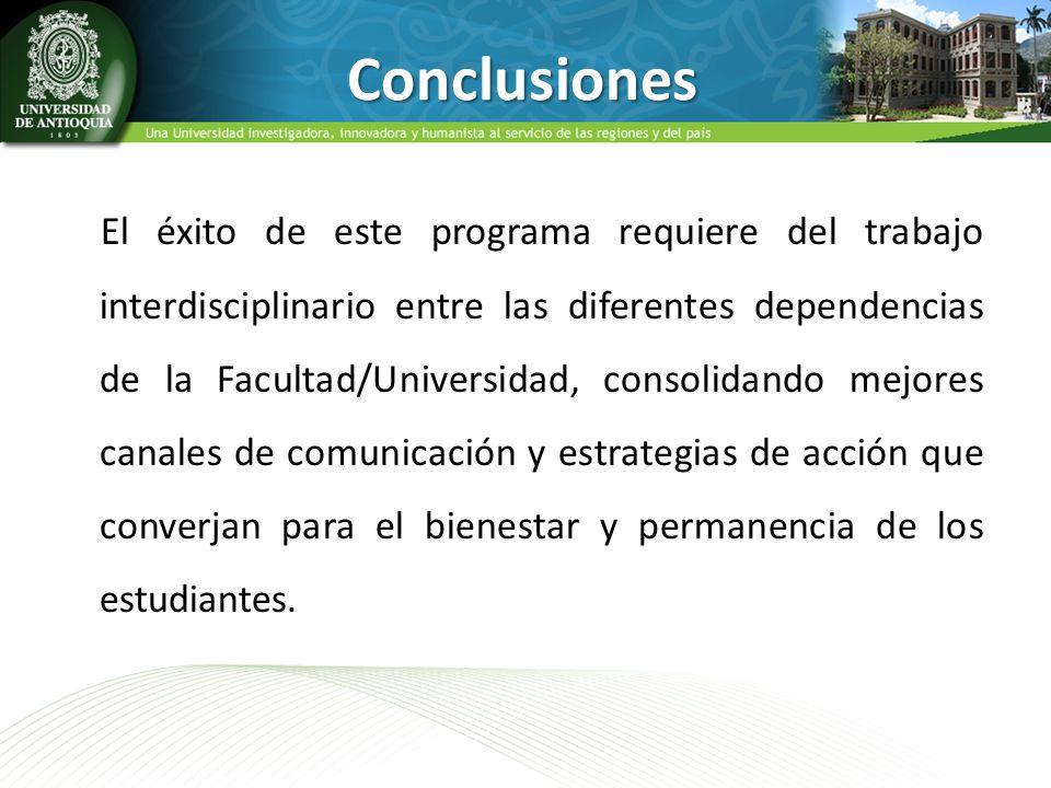 El éxito de este programa requiere del trabajo interdisciplinario entre las diferentes dependencias de la Facultad/Universidad, consolidando mejores c
