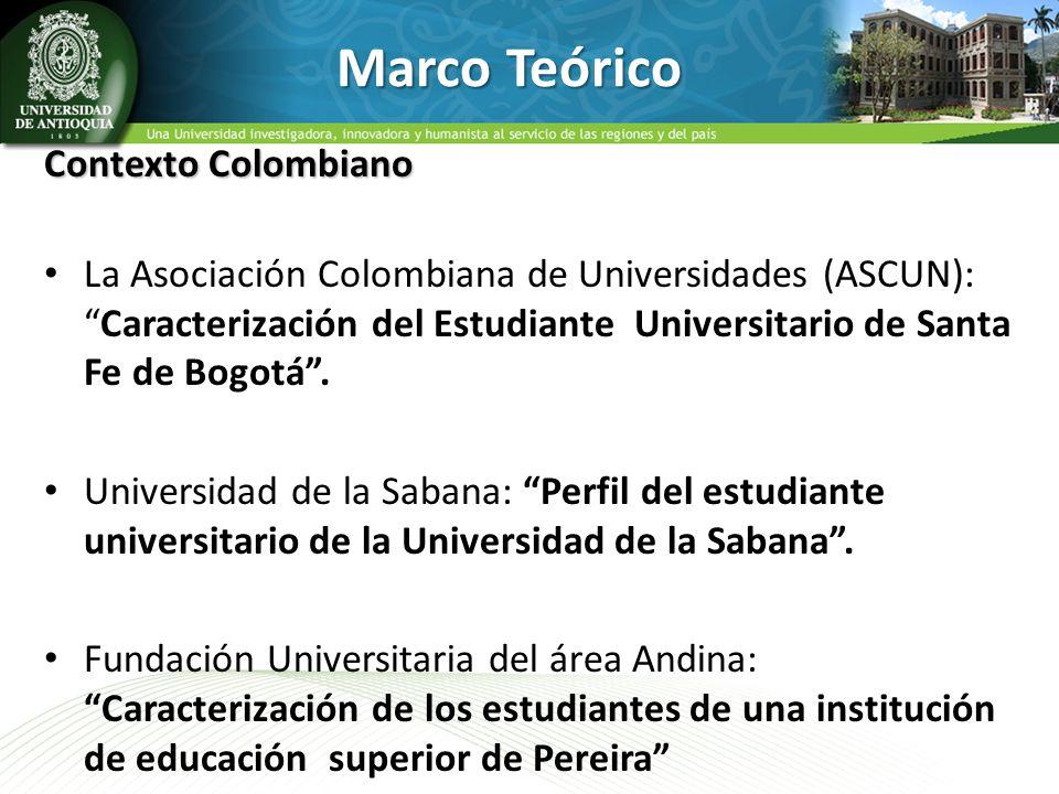 Marco Teórico Contexto Colombiano La Asociación Colombiana de Universidades (ASCUN):Caracterización del Estudiante Universitario de Santa Fe de Bogotá