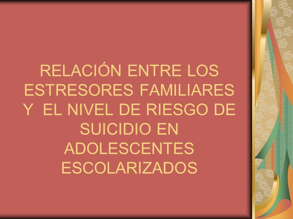 RELACIÓN ENTRE LOS ESTRESORES FAMILIARES Y EL NIVEL DE RIESGO DE SUICIDIO EN ADOLESCENTES ESCOLARIZADOS