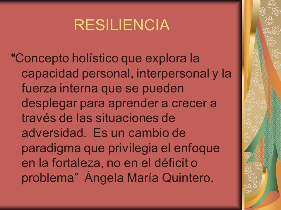 Concepto holístico que explora la capacidad personal, interpersonal y la fuerza interna que se pueden desplegar para aprender a crecer a través de las situaciones de adversidad.