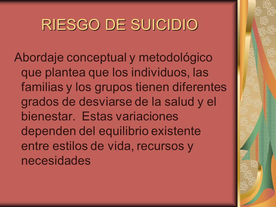 RIESGO DE SUICIDIO Abordaje conceptual y metodológico que plantea que los individuos, las familias y los grupos tienen diferentes grados de desviarse de la salud y el bienestar.
