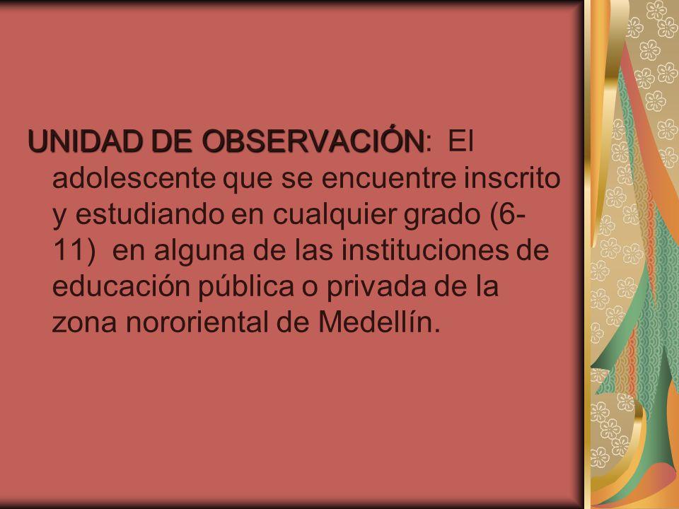 UNIDAD DE OBSERVACIÓN UNIDAD DE OBSERVACIÓN: El adolescente que se encuentre inscrito y estudiando en cualquier grado (6- 11) en alguna de las instituciones de educación pública o privada de la zona nororiental de Medellín.