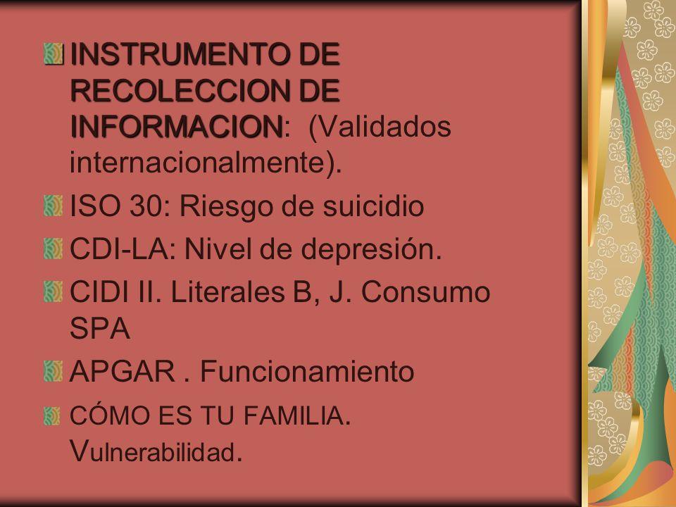 INSTRUMENTO DE RECOLECCION DE INFORMACION INSTRUMENTO DE RECOLECCION DE INFORMACION: (Validados internacionalmente).