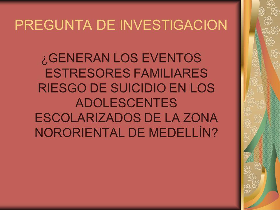 PREGUNTA DE INVESTIGACION ¿GENERAN LOS EVENTOS ESTRESORES FAMILIARES RIESGO DE SUICIDIO EN LOS ADOLESCENTES ESCOLARIZADOS DE LA ZONA NORORIENTAL DE MEDELLÍN?