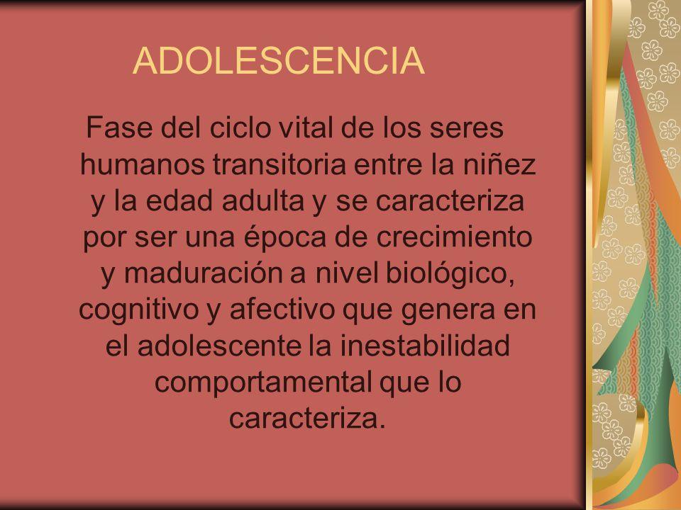 ADOLESCENCIA Fase del ciclo vital de los seres humanos transitoria entre la niñez y la edad adulta y se caracteriza por ser una época de crecimiento y maduración a nivel biológico, cognitivo y afectivo que genera en el adolescente la inestabilidad comportamental que lo caracteriza.