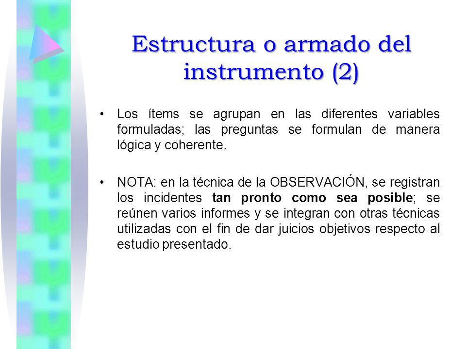 Estructura o armado del instrumento (2) Los ítems se agrupan en las diferentes variables formuladas; las preguntas se formulan de manera lógica y coherente.