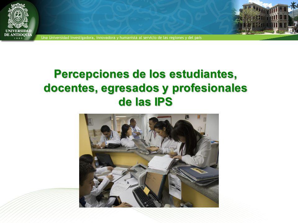Percepciones de los estudiantes, docentes, egresados y profesionales de las IPS