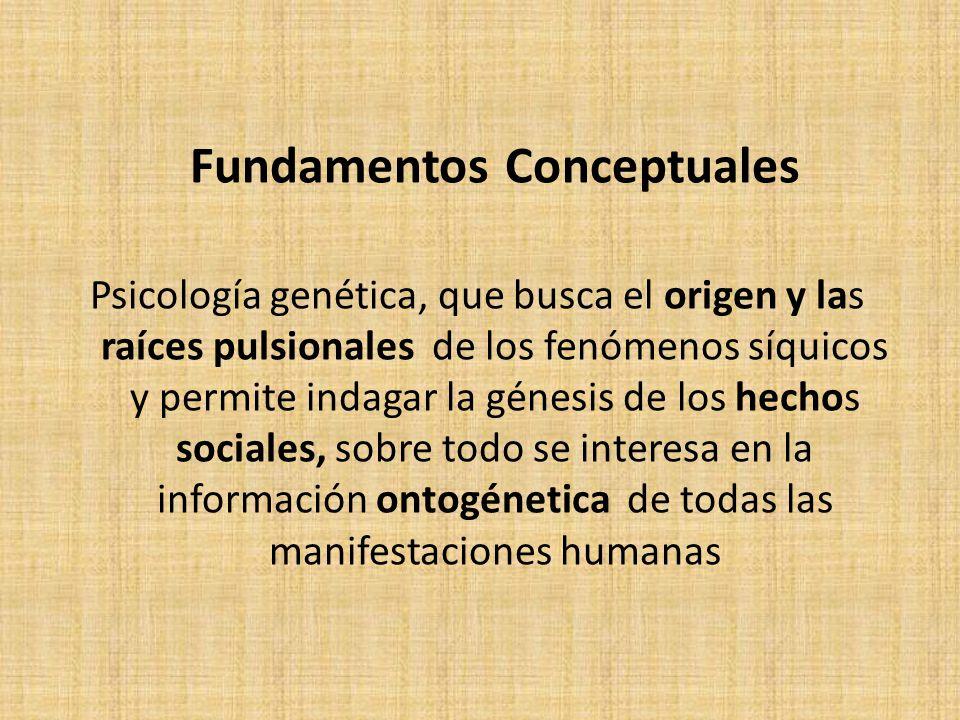 Fundamentos Conceptuales Psicología genética, que busca el origen y las raíces pulsionales de los fenómenos síquicos y permite indagar la génesis de los hechos sociales, sobre todo se interesa en la información ontogénetica de todas las manifestaciones humanas