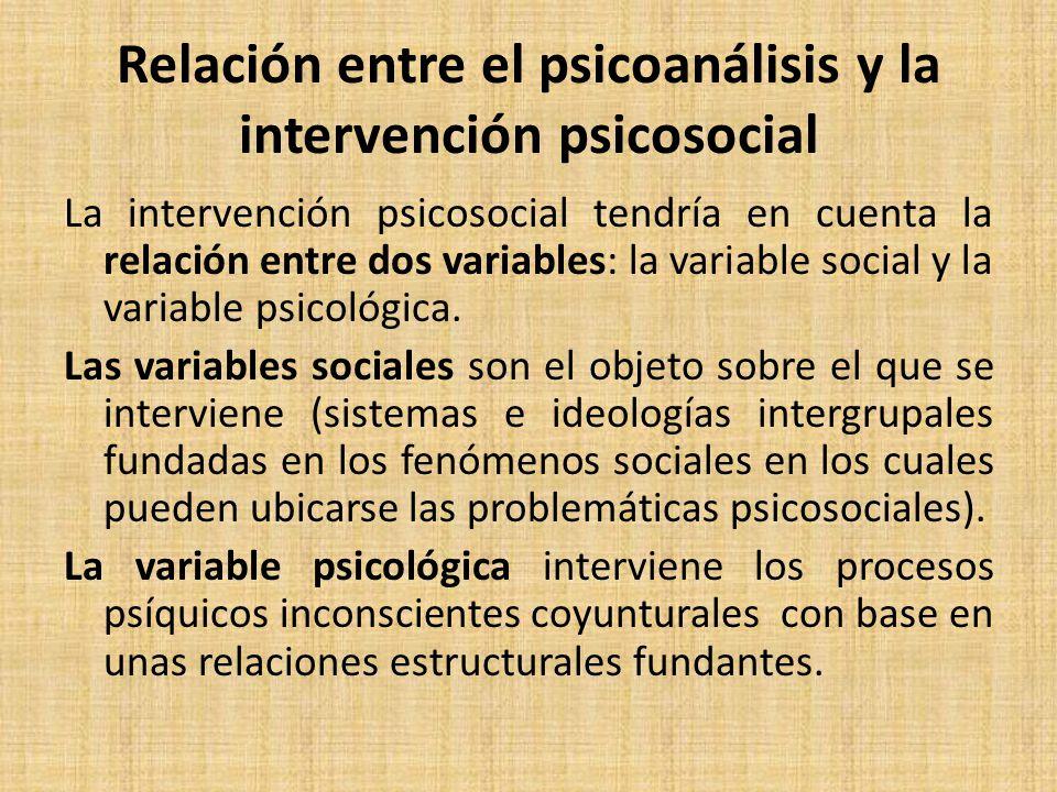 Relación entre el psicoanálisis y la intervención psicosocial La intervención psicosocial tendría en cuenta la relación entre dos variables: la variable social y la variable psicológica.