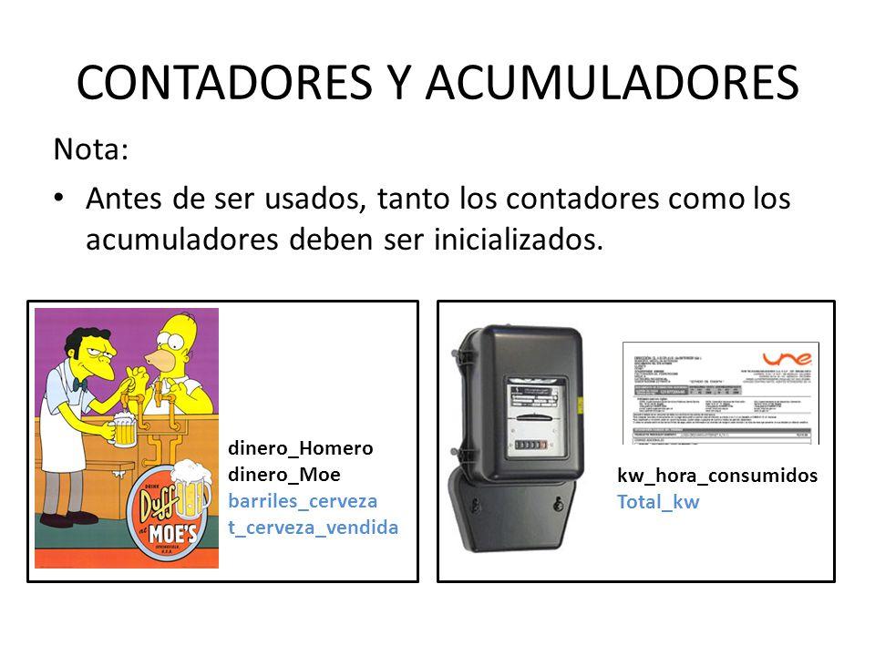 CONTADORES Y ACUMULADORES Nota: Antes de ser usados, tanto los contadores como los acumuladores deben ser inicializados. dinero_Homero dinero_Moe barr