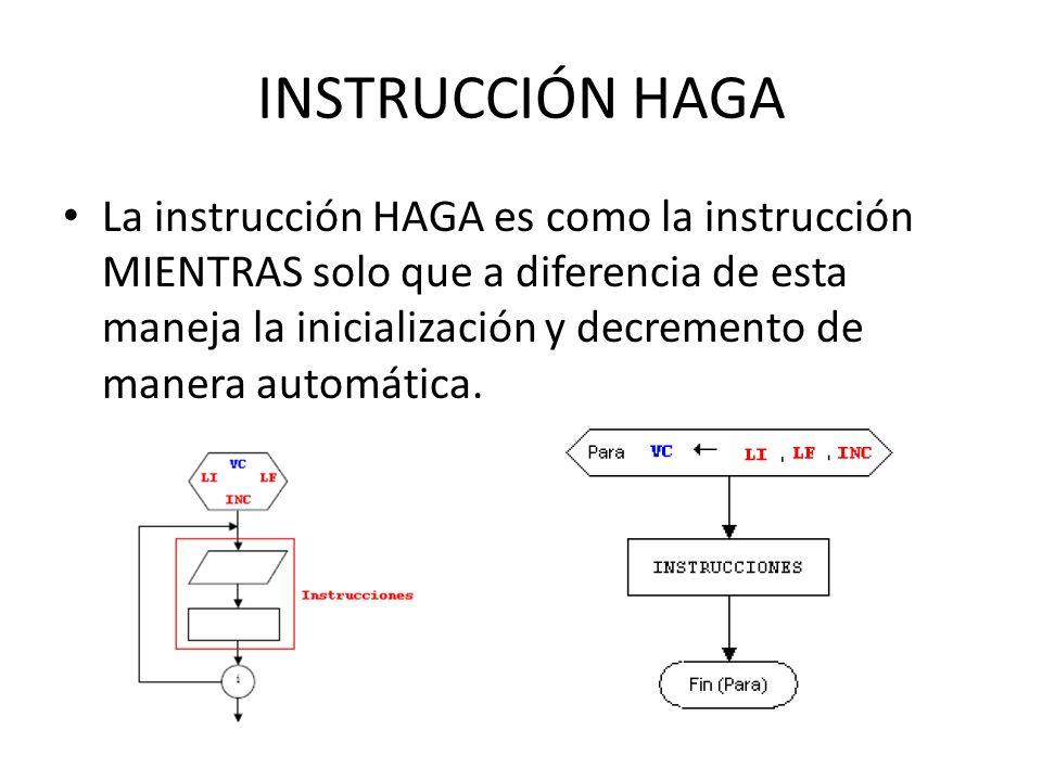 INSTRUCCIÓN HAGA La instrucción HAGA es como la instrucción MIENTRAS solo que a diferencia de esta maneja la inicialización y decremento de manera automática.