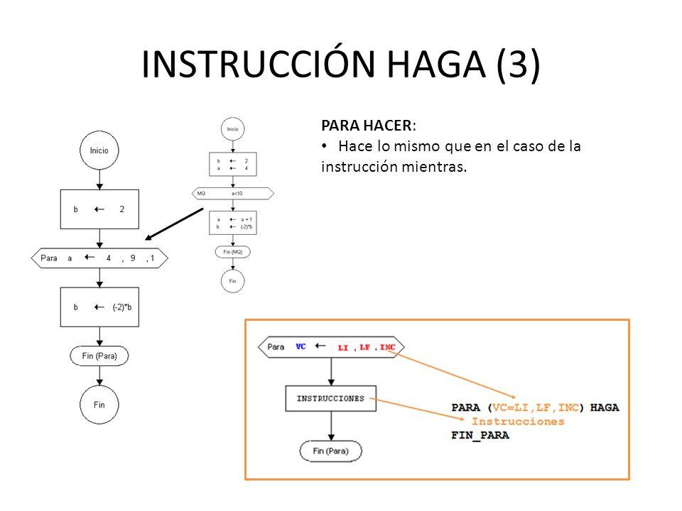 INSTRUCCIÓN HAGA (3) PARA HACER: Hace lo mismo que en el caso de la instrucción mientras.