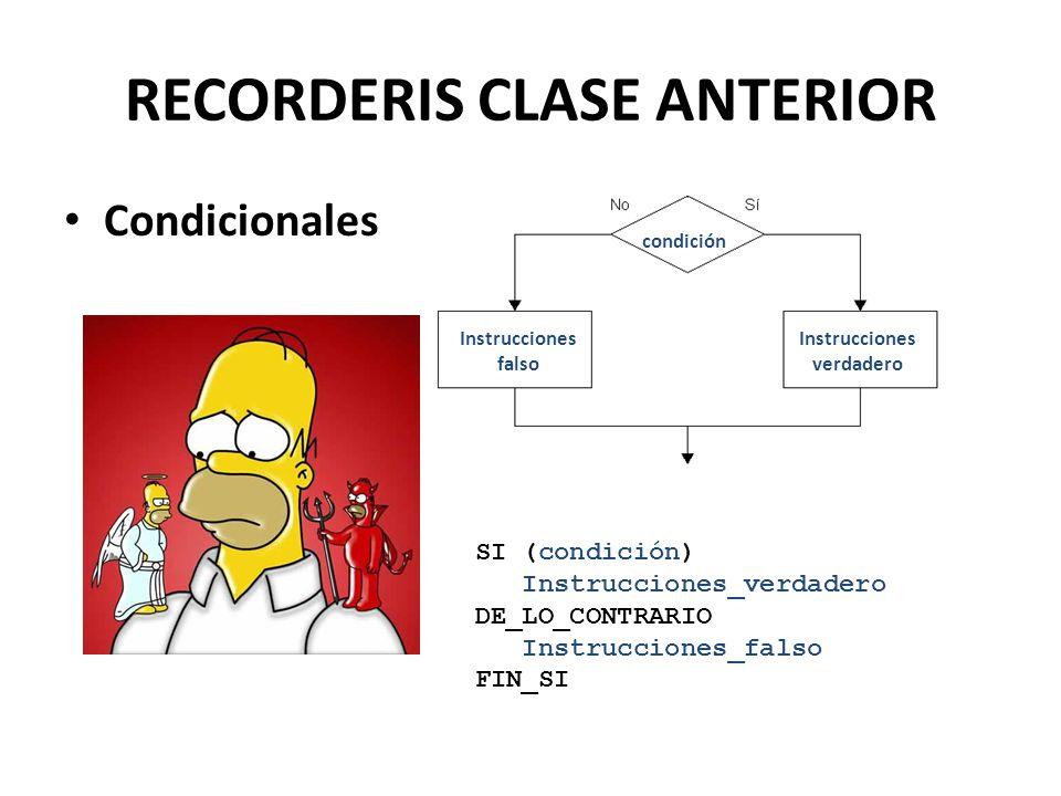 RECORDERIS CLASE ANTERIOR Condicionales condición Instrucciones falso Instrucciones verdadero SI (condición) Instrucciones_verdadero DE_LO_CONTRARIO Instrucciones_falso FIN_SI