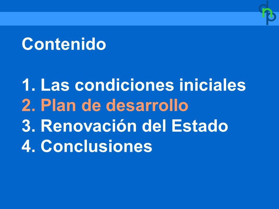 Contenido 1. Las condiciones iniciales 2. Plan de desarrollo 3. Renovación del Estado 4. Conclusiones