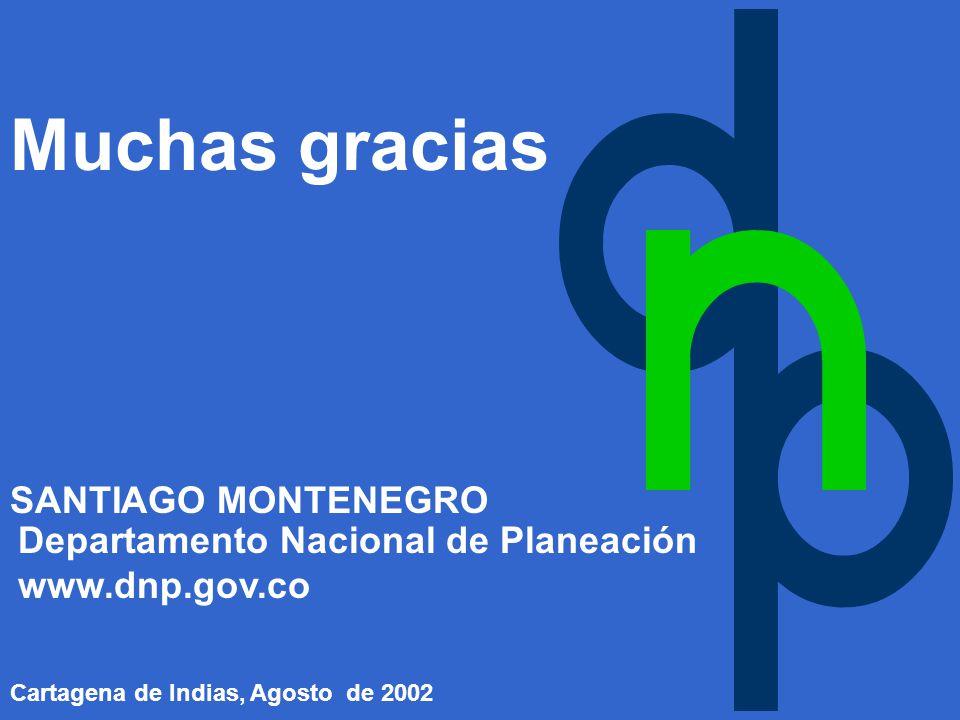 Departamento Nacional de Planeación www.dnp.gov.co SANTIAGO MONTENEGRO Cartagena de Indias, Agosto de 2002 Muchas gracias