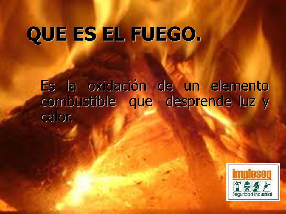 Es la oxidación de un elemento combustible que desprende luz y calor. QUE ES EL FUEGO.
