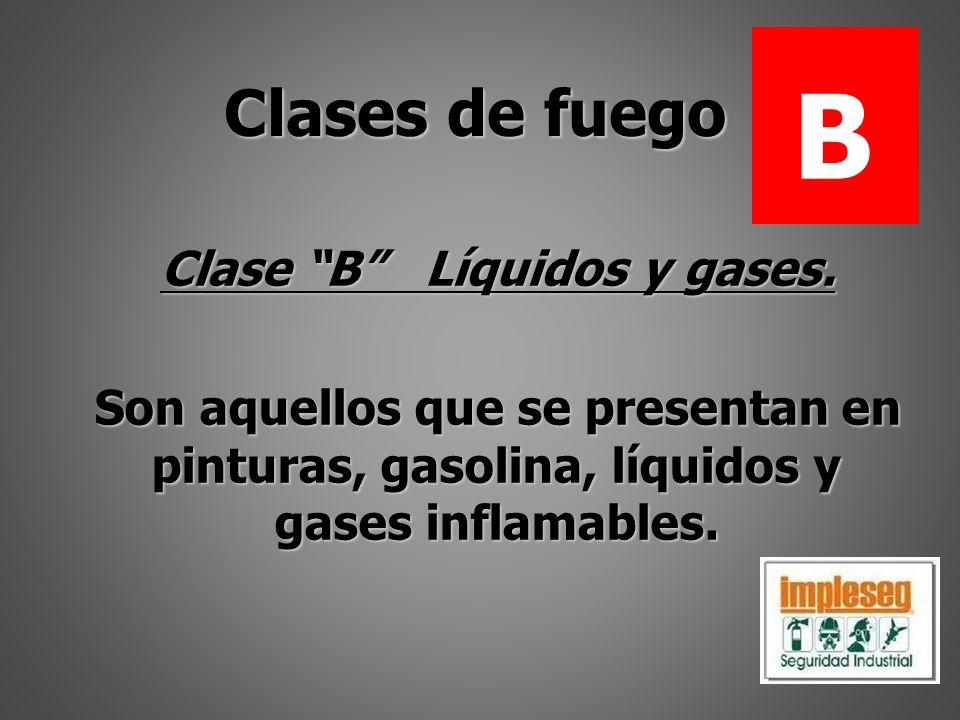 Clase B Líquidos y gases. Son aquellos que se presentan en pinturas, gasolina, líquidos y gases inflamables. Clases de fuego B