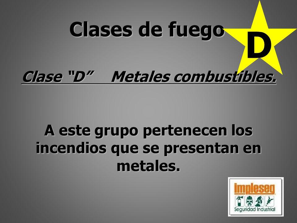 Clase DMetales combustibles. A este grupo pertenecen los incendios que se presentan en metales. Clases de fuego D