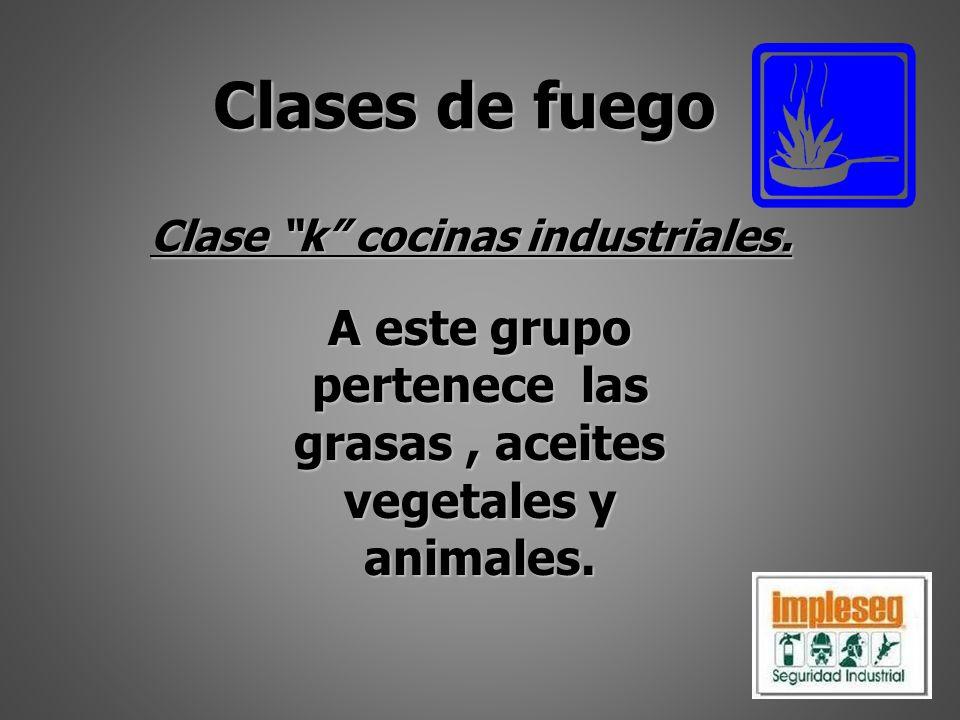 Clase kcocinas industriales. A este grupo pertenece las grasas, aceites vegetales y animales. Clases de fuego