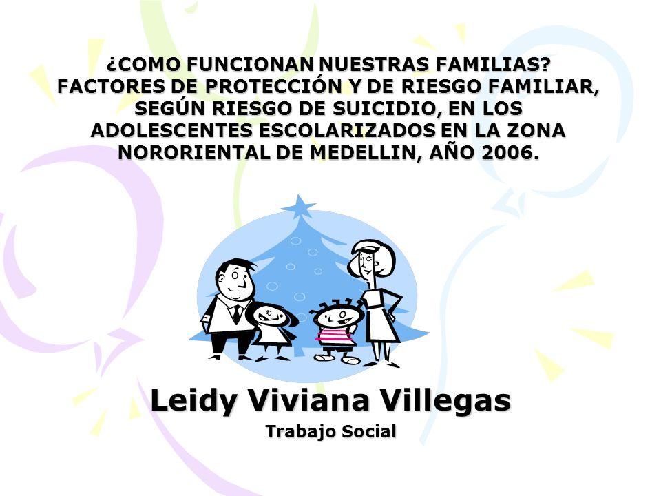 Leidy Viviana Villegas Trabajo Social ¿COMO FUNCIONAN NUESTRAS FAMILIAS? FACTORES DE PROTECCIÓN Y DE RIESGO FAMILIAR, SEGÚN RIESGO DE SUICIDIO, EN LOS