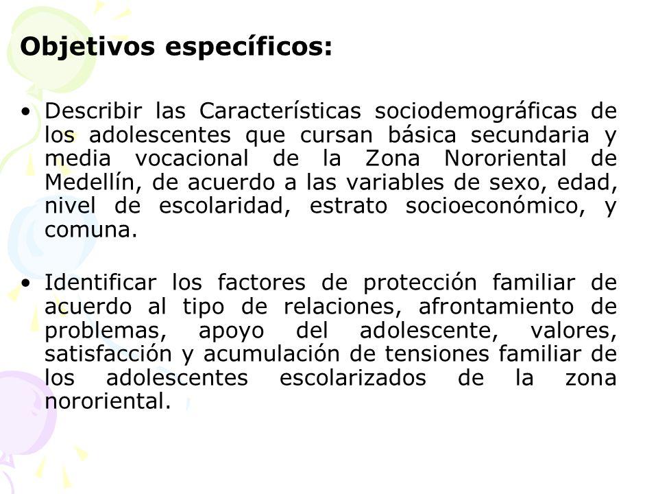 Objetivos específicos: Describir las Características sociodemográficas de los adolescentes que cursan básica secundaria y media vocacional de la Zona
