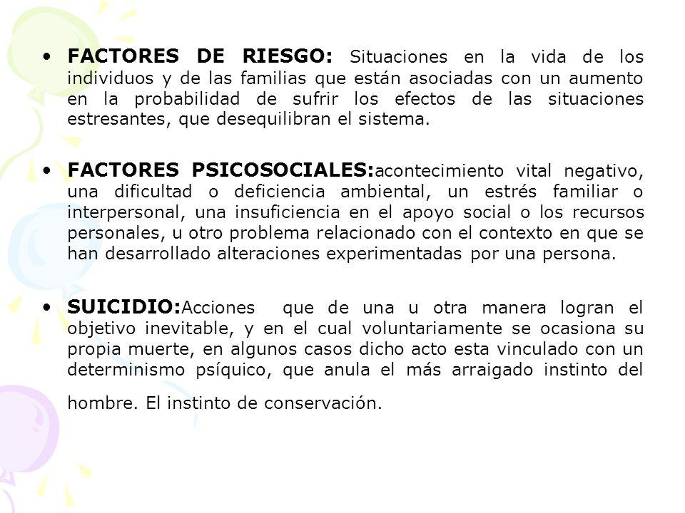 FACTORES DE RIESGO: Situaciones en la vida de los individuos y de las familias que están asociadas con un aumento en la probabilidad de sufrir los efe