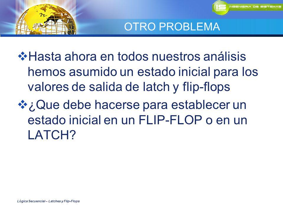 OTRO PROBLEMA Hasta ahora en todos nuestros análisis hemos asumido un estado inicial para los valores de salida de latch y flip-flops ¿Que debe hacers