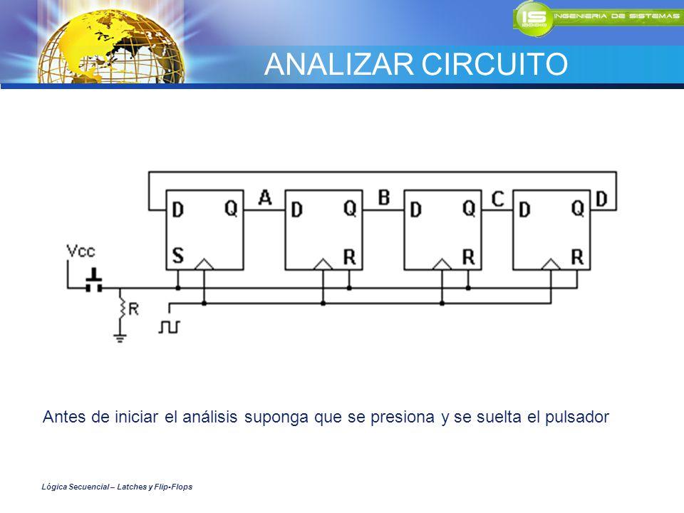 ANALIZAR CIRCUITO Antes de iniciar el análisis suponga que se presiona y se suelta el pulsador Lógica Secuencial – Latches y Flip-Flops