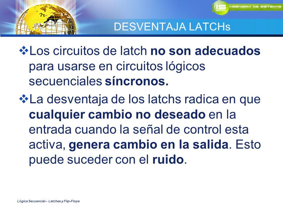 DESVENTAJA LATCHs Los circuitos de latch no son adecuados para usarse en circuitos lógicos secuenciales síncronos. La desventaja de los latchs radica