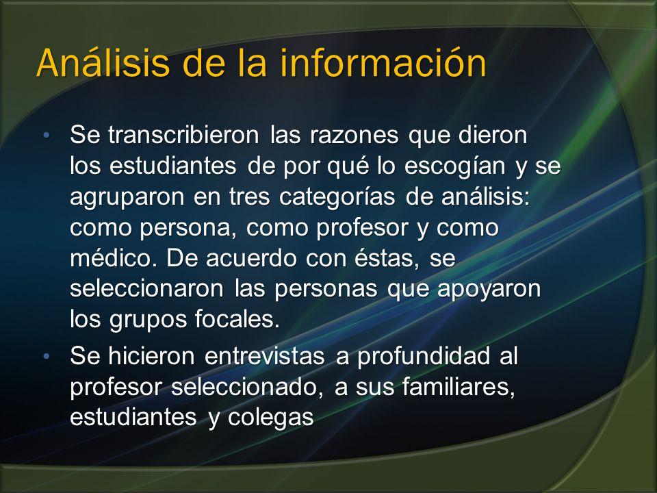 Análisis de la información Se transcribieron las razones que dieron los estudiantes de por qué lo escogían y se agruparon en tres categorías de análisis: como persona, como profesor y como médico.