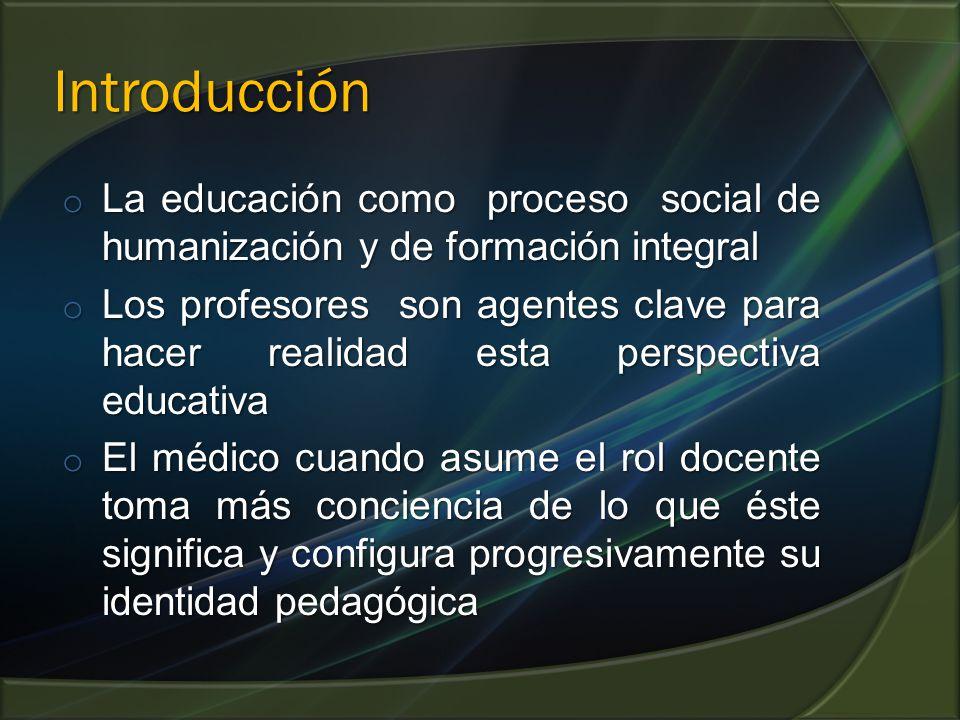 Introducción o La educación como proceso social de humanización y de formación integral o Los profesores son agentes clave para hacer realidad esta pe