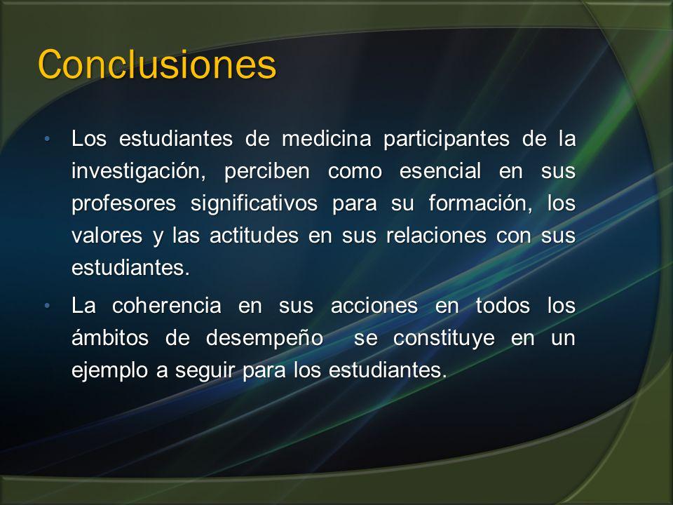 Conclusiones Los estudiantes de medicina participantes de la investigación, perciben como esencial en sus profesores significativos para su formación,