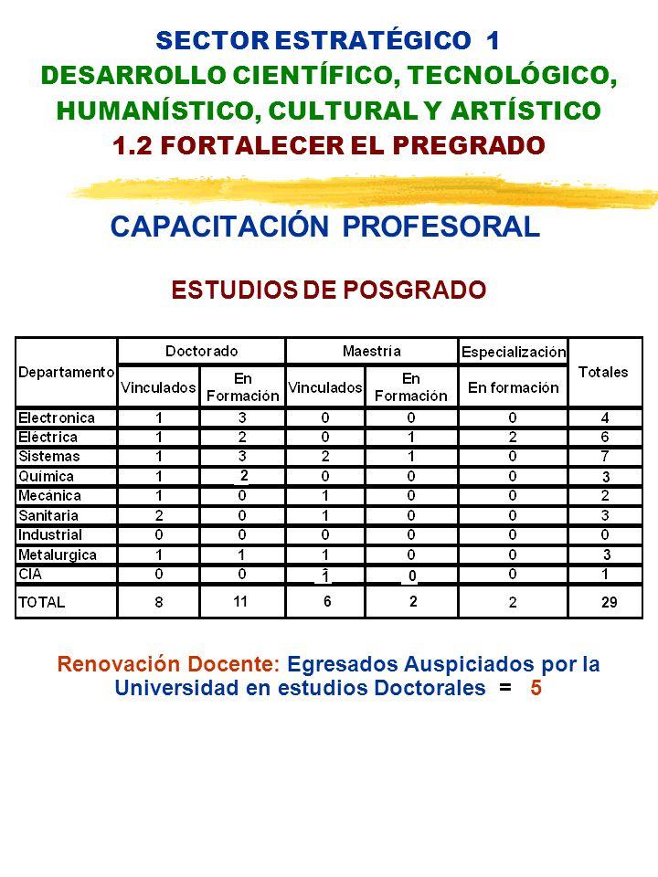 SECTOR ESTRATÉGICO 1 DESARROLLO CIENTÍFICO, TECNOLÓGICO, HUMANÍSTICO, CULTURAL Y ARTÍSTICO 1.2 FORTALECER EL PREGRADO CAPACITACIÓN PROFESORAL Renovación Docente: Egresados Auspiciados por la Universidad en estudios Doctorales = 5 ESTUDIOS DE POSGRADO 2 1 11 1 6 0 2 3 3 29