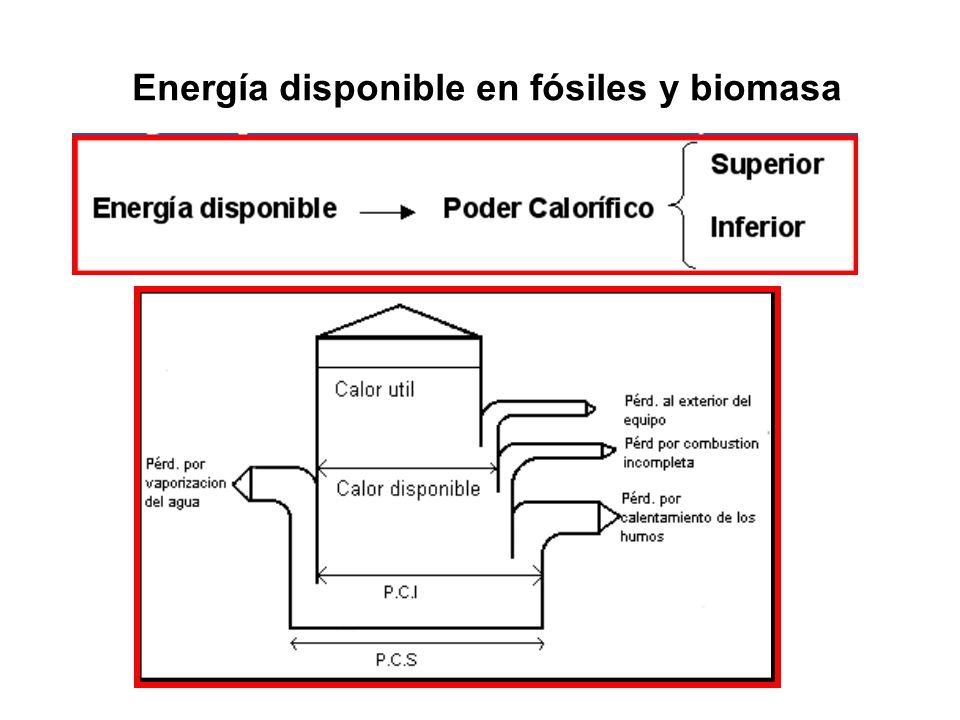 Energía disponible en fósiles y biomasa