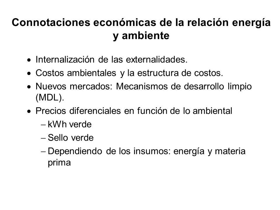 Connotaciones económicas de la relación energía y ambiente Internalización de las externalidades. Costos ambientales y la estructura de costos. Nuevos