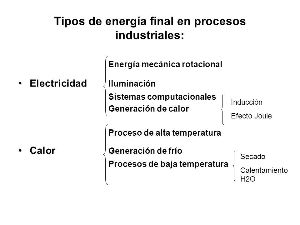 Energía mecánica rotacional Electricidad Iluminación Sistemas computacionales Generación de calor Proceso de alta temperatura Calor Generación de frío Procesos de baja temperatura Inducción Efecto Joule Secado Calentamiento H2O Tipos de energía final en procesos industriales:
