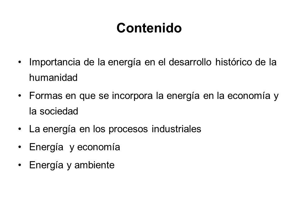 Contenido Importancia de la energía en el desarrollo histórico de la humanidad Formas en que se incorpora la energía en la economía y la sociedad La energía en los procesos industriales Energía y economía Energía y ambiente