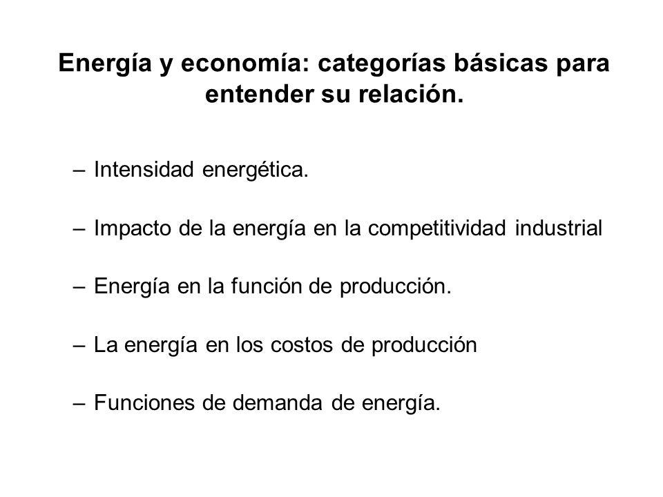 Energía y economía: categorías básicas para entender su relación. –Intensidad energética. –Impacto de la energía en la competitividad industrial –Ener