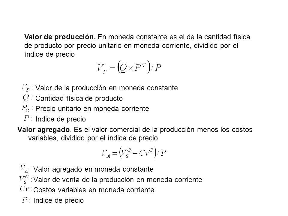Valor de la producción en moneda constante Cantidad física de producto Precio unitario en moneda corriente Indice de precio Valor agregado. Es el valo
