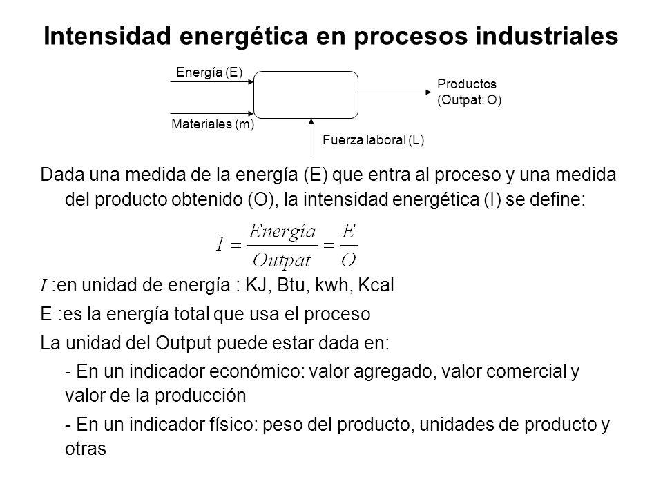 Intensidad energética en procesos industriales Dada una medida de la energía (E) que entra al proceso y una medida del producto obtenido (O), la intensidad energética (I) se define: I :en unidad de energía : KJ, Btu, kwh, Kcal E :es la energía total que usa el proceso La unidad del Output puede estar dada en: - En un indicador económico: valor agregado, valor comercial y valor de la producción - En un indicador físico: peso del producto, unidades de producto y otras Energía (E) Materiales (m) Fuerza laboral (L) Productos (Outpat: O)