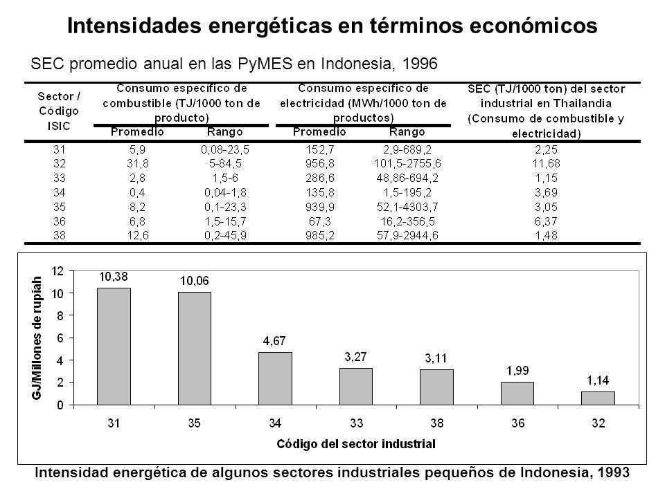Intensidades energéticas en términos económicos SEC promedio anual en las PyMES en Indonesia, 1996 Intensidad energética de algunos sectores industriales pequeños de Indonesia, 1993