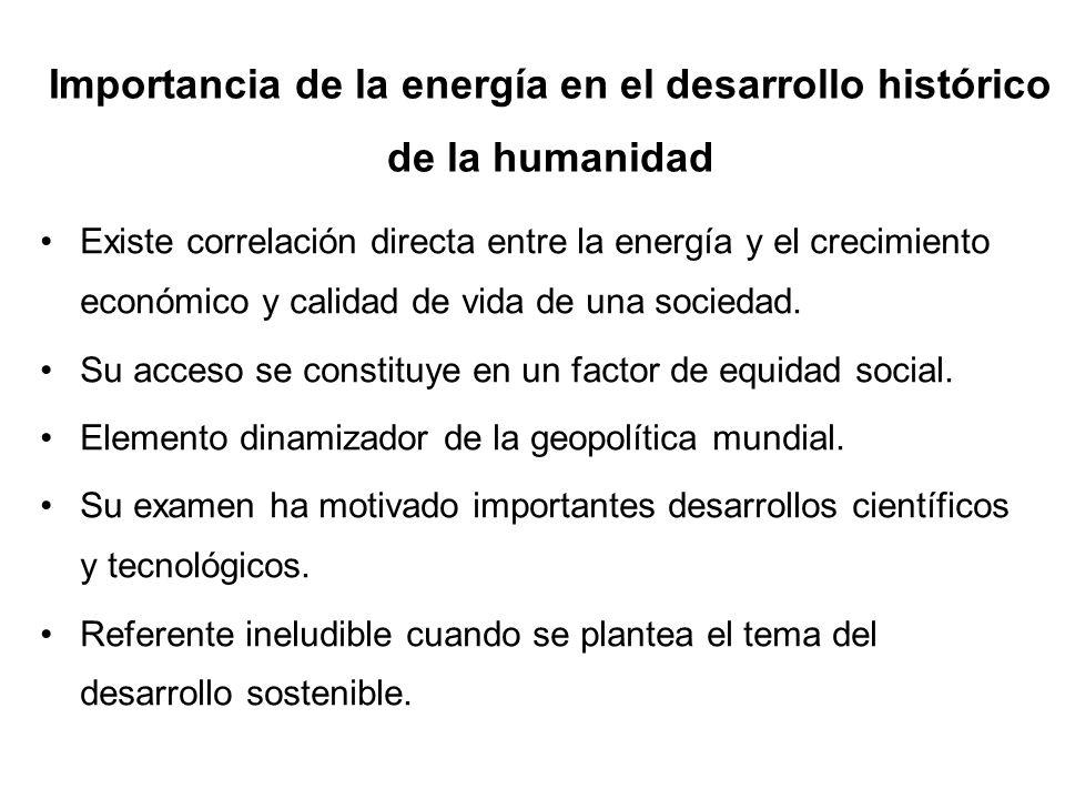 Existe correlación directa entre la energía y el crecimiento económico y calidad de vida de una sociedad. Su acceso se constituye en un factor de equi