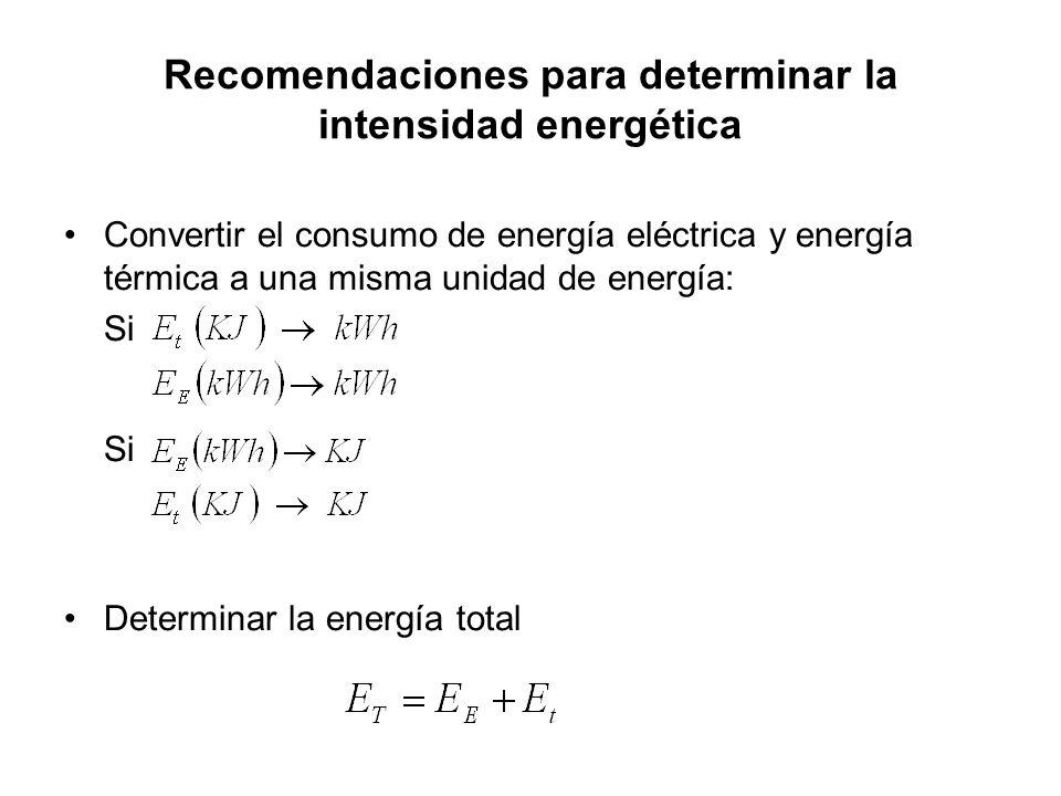 Recomendaciones para determinar la intensidad energética Convertir el consumo de energía eléctrica y energía térmica a una misma unidad de energía: Si Determinar la energía total