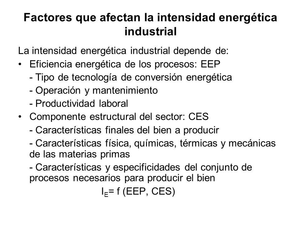 Factores que afectan la intensidad energética industrial La intensidad energética industrial depende de: Eficiencia energética de los procesos: EEP - Tipo de tecnología de conversión energética - Operación y mantenimiento - Productividad laboral Componente estructural del sector: CES - Características finales del bien a producir - Características física, químicas, térmicas y mecánicas de las materias primas - Características y especificidades del conjunto de procesos necesarios para producir el bien I E = f (EEP, CES)