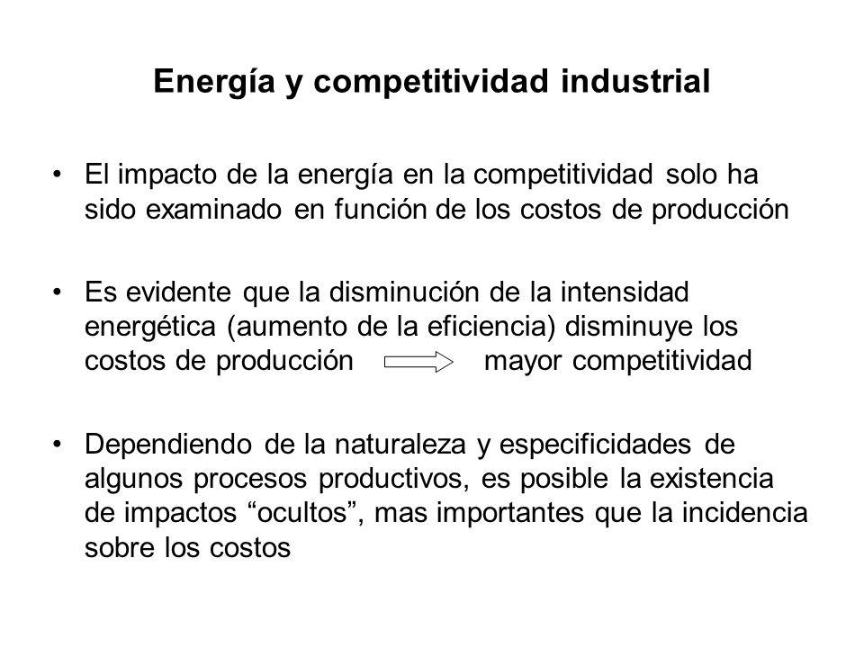 Energía y competitividad industrial El impacto de la energía en la competitividad solo ha sido examinado en función de los costos de producción Es evi