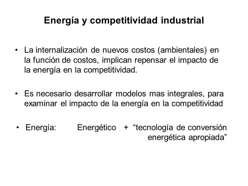 Energía y competitividad industrial La internalización de nuevos costos (ambientales) en la función de costos, implican repensar el impacto de la energía en la competitividad.