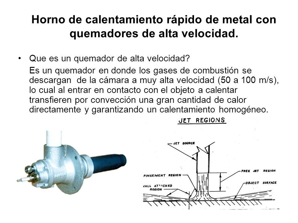 Horno de calentamiento rápido de metal con quemadores de alta velocidad. Que es un quemador de alta velocidad? Es un quemador en donde los gases de co