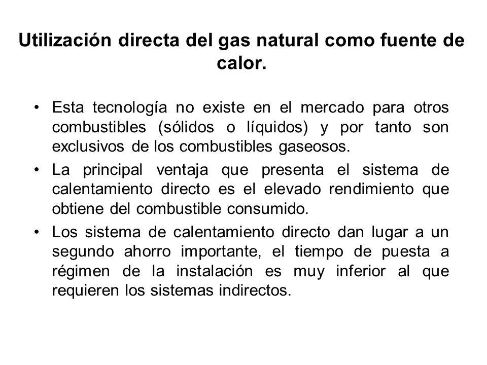 Utilización directa del gas natural como fuente de calor. Esta tecnología no existe en el mercado para otros combustibles (sólidos o líquidos) y por t
